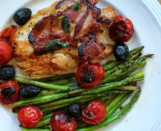 Pan-fried Chicken with Bacon and Asparagus for #SundaySupper