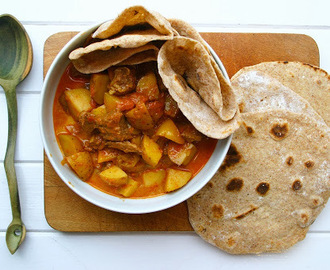 slow cooked beef and potato curry with chapati