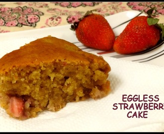 Eggless Strawberry Cake - Healthy Version