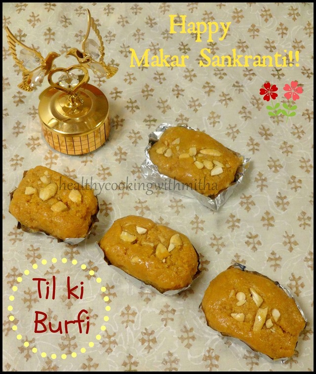 Microwave Til Ki Burfi {Using Jaggery}