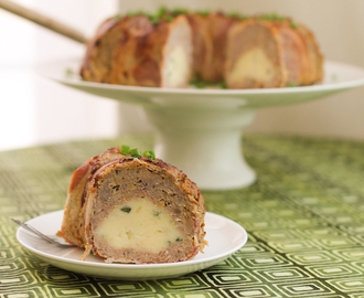 Chive Potato Filled Cheeseburger Meatloaf Bundt #BundtBakers