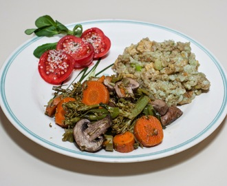 Crimini Mushroom and Vegetable Medley served with Jade Pearl Rice with Coconut Curry Tempeh (No Added Fat)