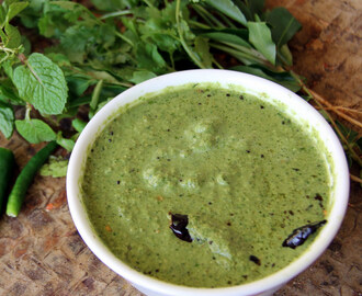 Green Chutney - Simple dip recipe - Healthy Chutney recipe for Idli / dosa / roti / Stuffed paratha
