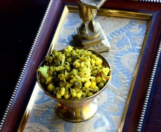 Green Gram Sprouts Sundal ~ Green Gram Sprouts Stir Fried with Spices and Coconut