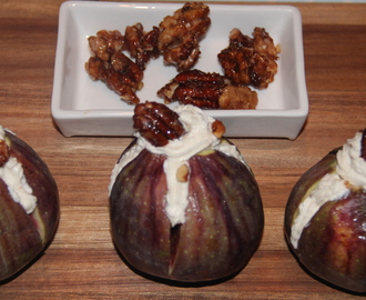 Fresh Figs with hung curd topped with glazed nuts
