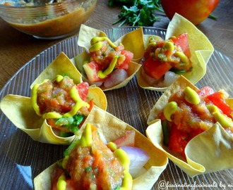Mini taco cups with Roasted tomato salsa