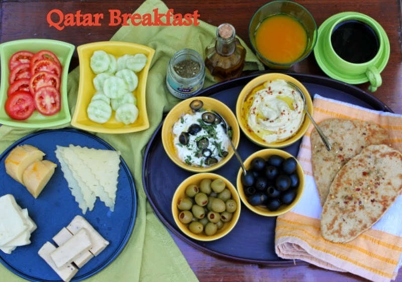 Qatar Breakfast with Whole Wheat Pita