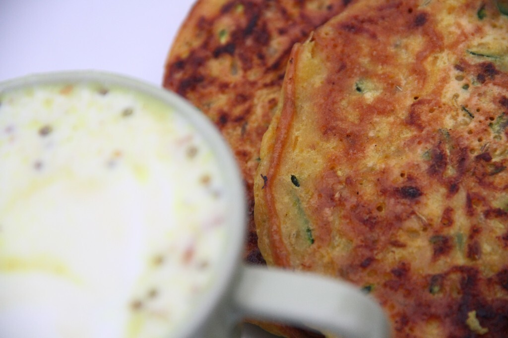 A Diwali breakfast of courgette and butternut squash savoury gram flour pancakes with a honey and mustard yoghurt dressing – recipes vegetarian