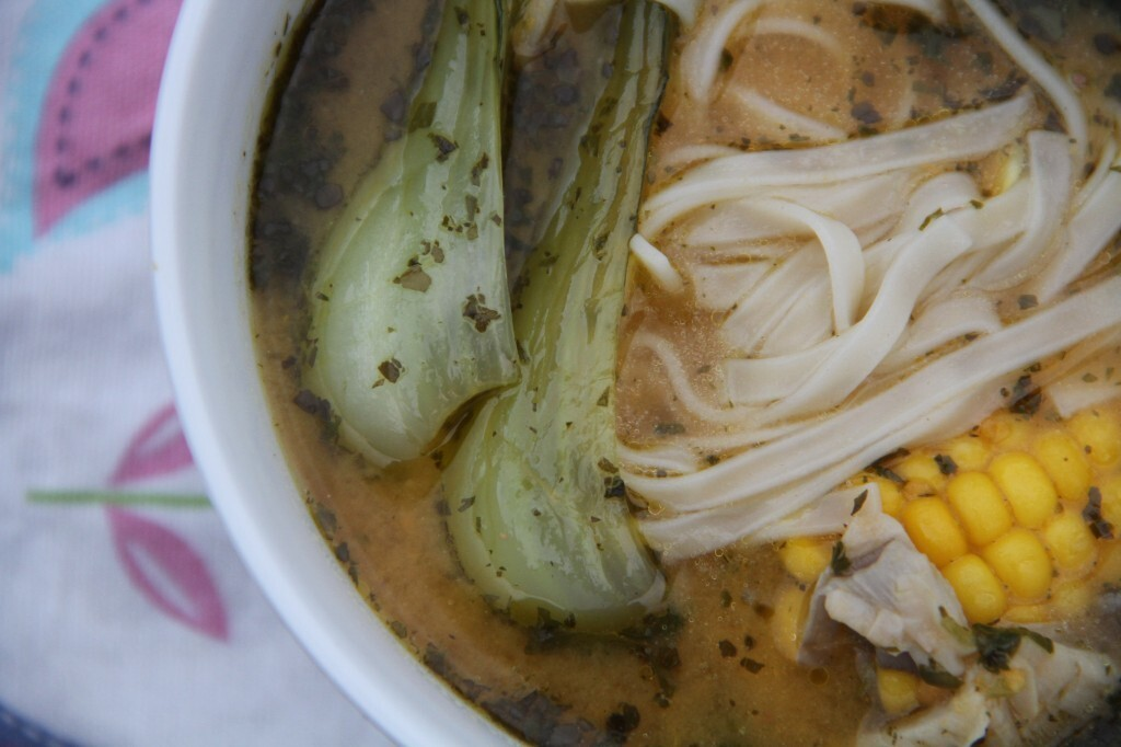 Udon and veg in a miso, sweet potato and herb soup: dinner at Deena's and a giveaway