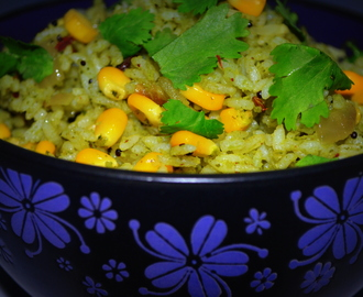 Pudina Sweet Corn Pulao | Quick Dinner Ideas