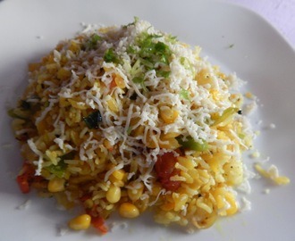 Leftover Rice and Poha Pilaf