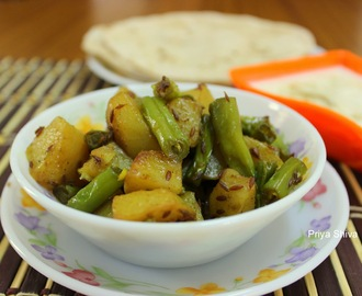 Aloo Faliyan / Potato and French beans stir fry