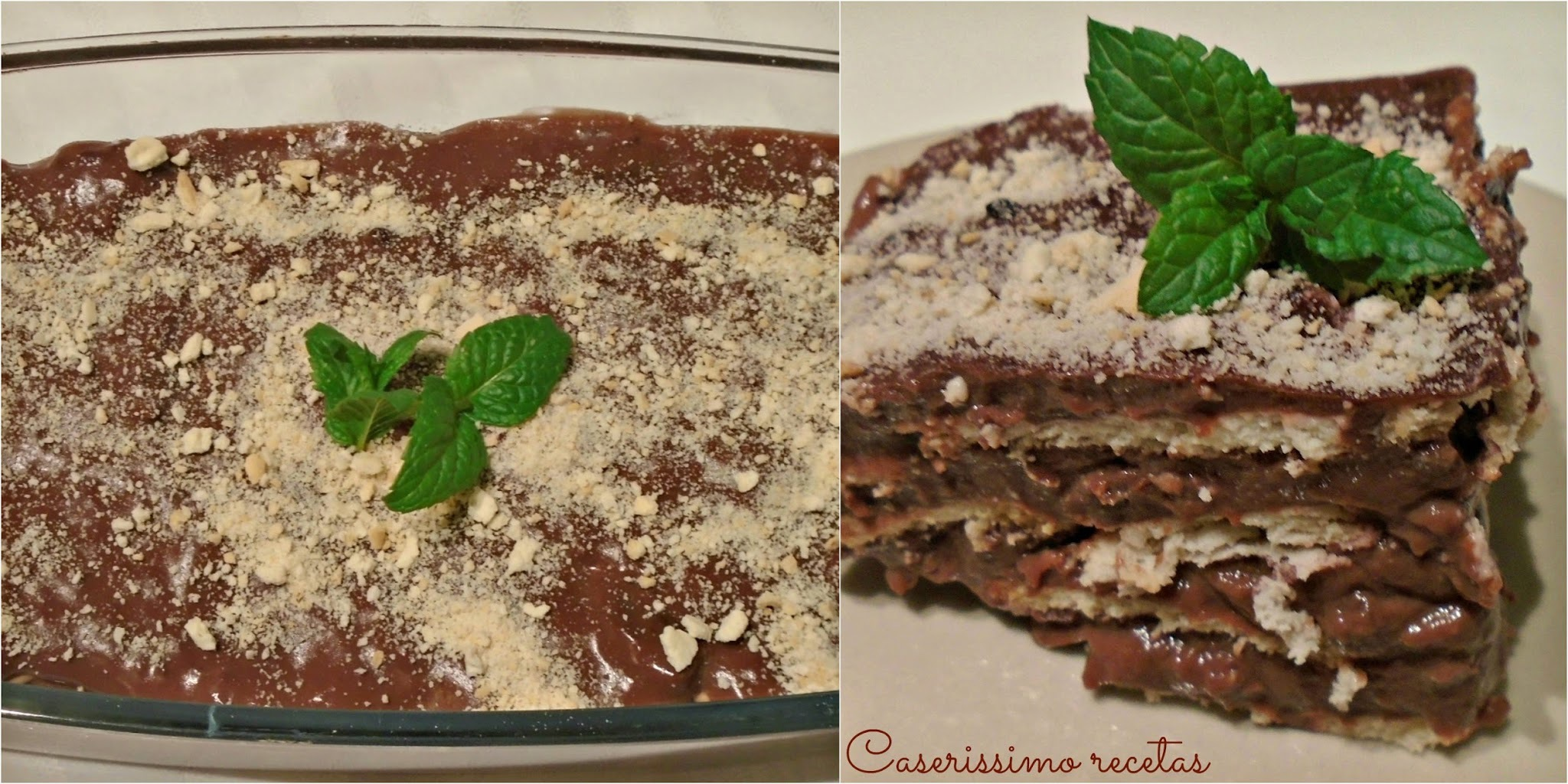 POSTRE LIGHT DE CREMA DE CHOCOLATE Y GALLETITAS 151 kcal.