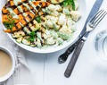 Tahini Grilled Avocado, Cauliflower and Sweet Potato Power Bowl