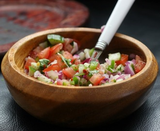 Tomato Salsa, The Indian Way. Served With Burts Lentil Waves