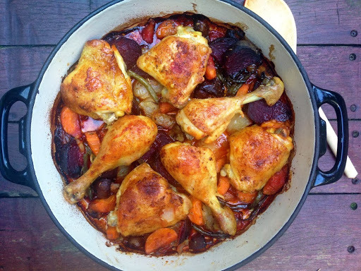 rosemary and beetroot roasted chicken thighs