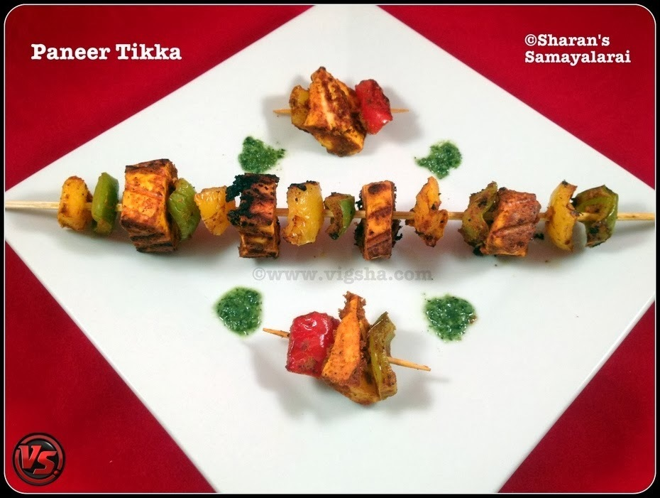 Paneer Tikka ~ Oven, Grill & Stove-top Method / பனீர் டிக்கா