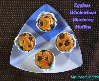Eggless wholewheat blueberry muffin
