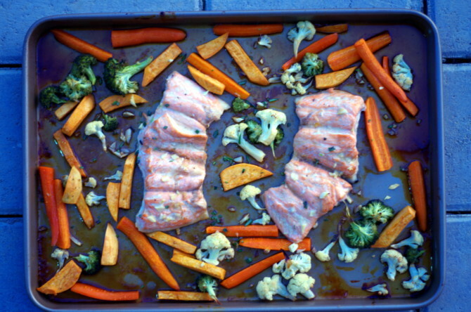 Honey Glazed Salmon with Vegetables in a Sheet Pan