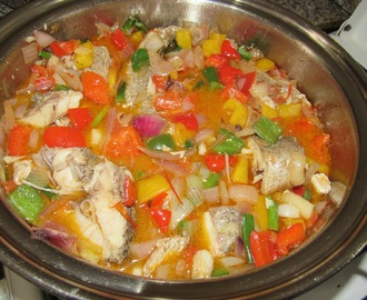 Fresh Fish stew with vegetables (Caribbean Stewed fish altered for my Nigerian palate)