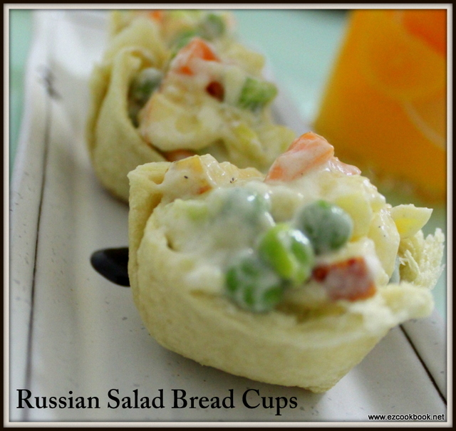 Russian Salad Bread Cups | How To Make Crispy Bread Cups - Step By Step Pictures