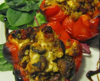 Hairy Bikers mushroom, feta and tomato baked peppers