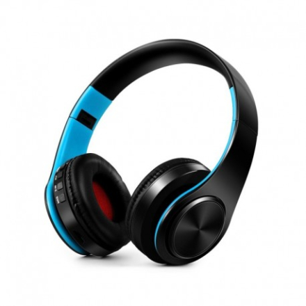 Foldable HIFI Stereo Portable Comfortable Bluetooth Wireless Stereo Headset - Black / Blue