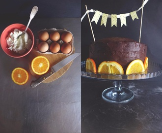 {Bolo de aniversário} ricotta, laranja e chocolate/ {Birthday cake} ricotta, Orange, chocolate
