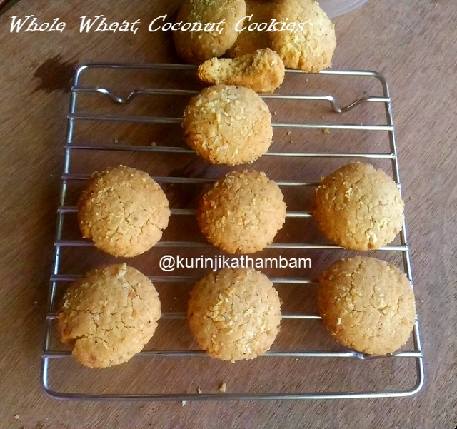 Whole Wheat Coconut Cookies with Brown Sugar
