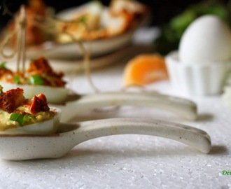 Devilled Eggs with chicken tikka and smoked paprika....