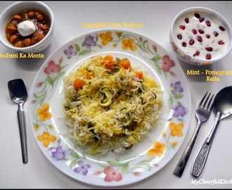 Hyderabadi Style Lunch menu - Vegetable Dum Biriyani and Khubani Ka Meetha