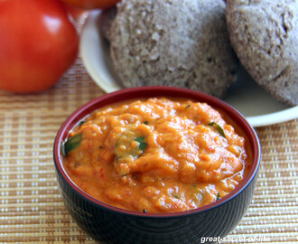 Tomato chutney with Garlic and small onion (Shallots) - Simple Side dish for Dosa, Idli, Upma and adai