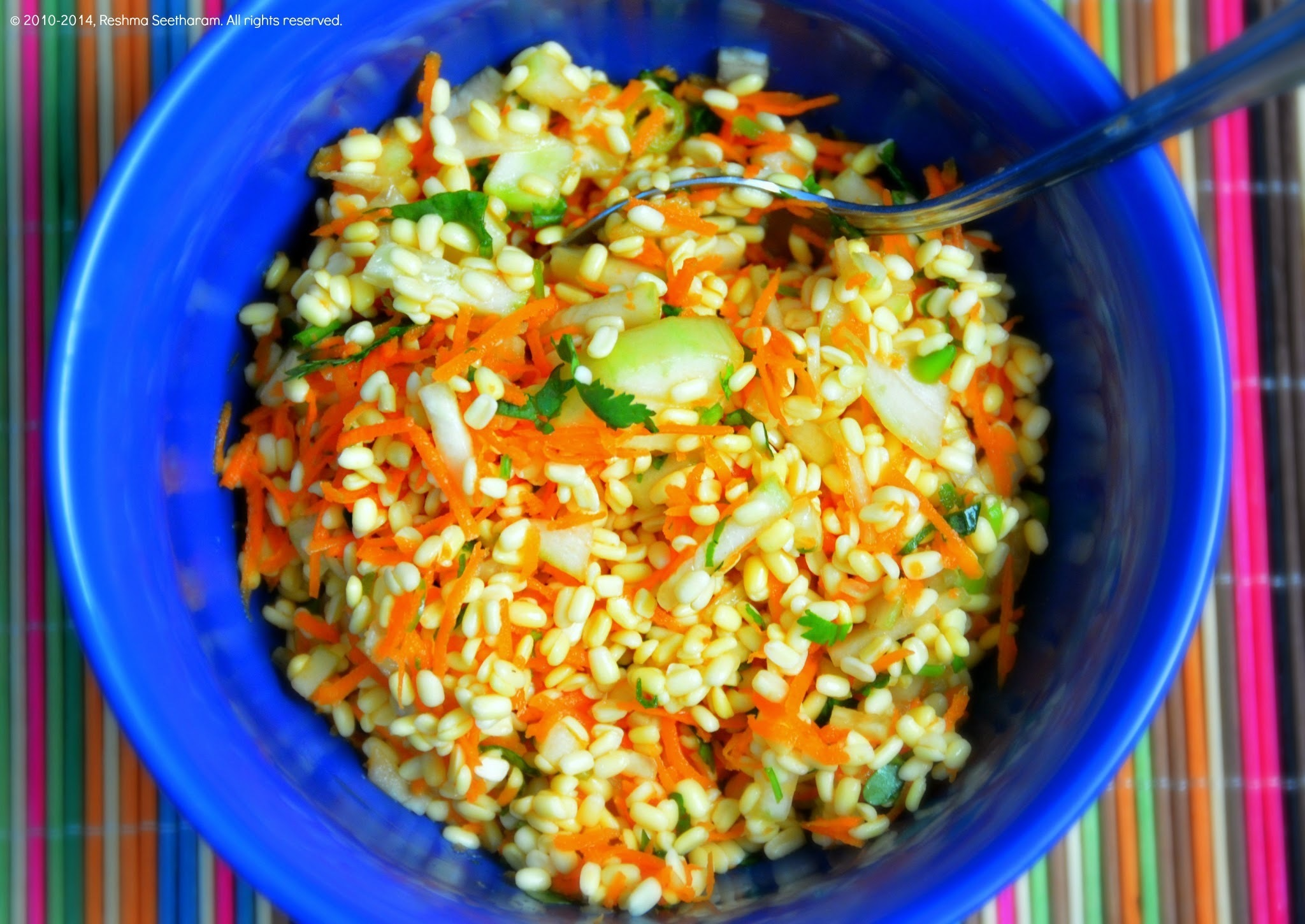 Yellow lentils/moong dal and carrot salad