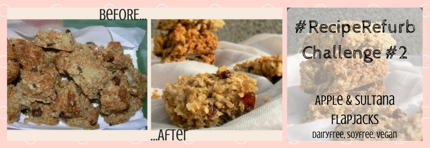 #RecipeRefurb Challenge 2 – Chewy Apple & Sultana Flapjacks (Dairyfree, Vegan)