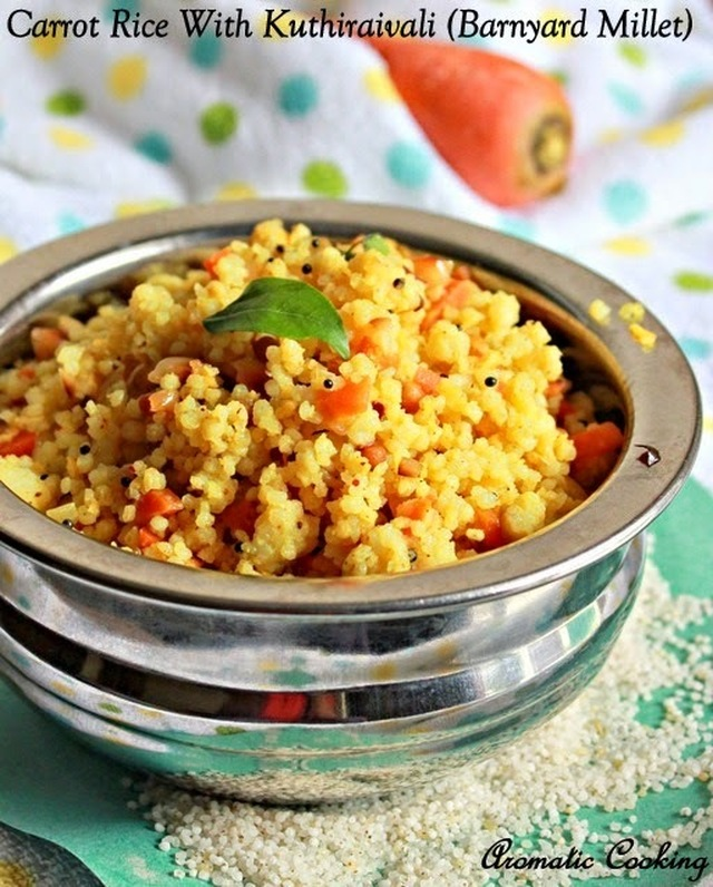 Carrot Rice With Kuthiraivali (Barnyard Millet)