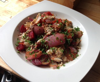 Balsamic Roast Tomato, Beetroot and Red Onion Salad With Smoked Mackerel