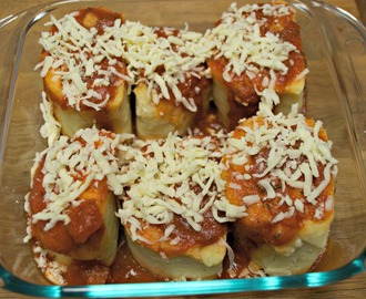 Potato Roll Stuffed with Ham and Cheese in Red Sauce #SundaySupper