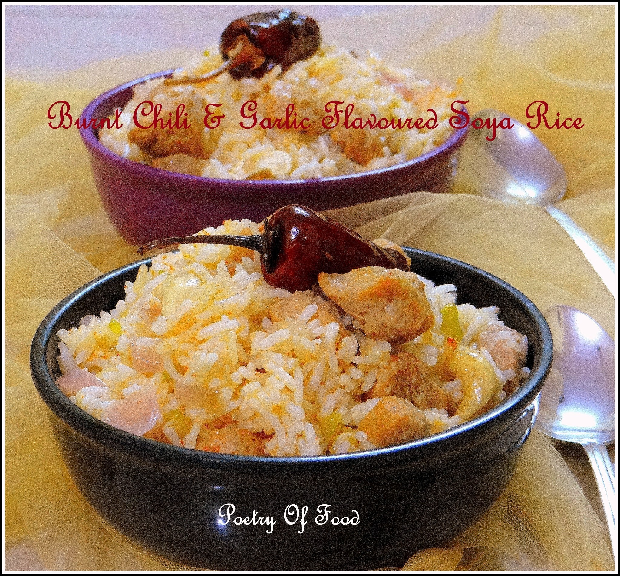 Burnt Garlic And Dry Red  Chili Flavoured Soya Fried Rice...!!!!