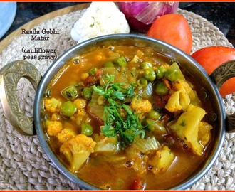 Rasila Gobhi Matar | Cauliflower and Peas Gravy | Quick Side dishes for Roti