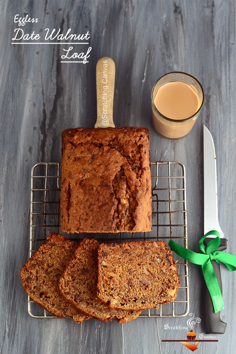 Eggless Date Walnut Loaf | Low Calorie Teacake | Eggless Christmas Cake