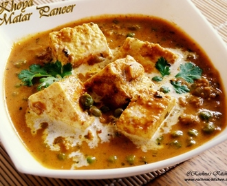 Khoya Matar Paneer Recipe |Indian Cottage Cheese In Peas And Mawa