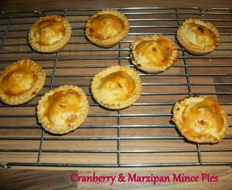 Mince Pies With Marzipan & Fresh Cranberries