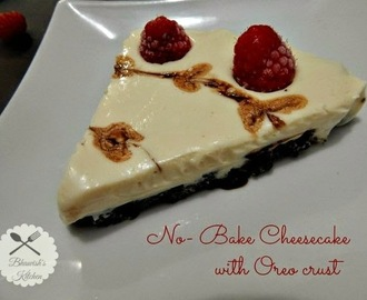 No Bake Cheesecake with Oreo crust
