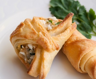 Paneer and Palak filled Croissants with homemade pastry