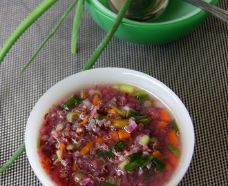 Quinoa vegetable soup with whey water - Healthy soup recipe - Healthy starter recipe