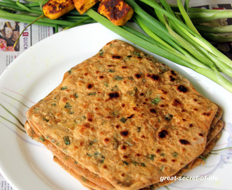 Masala Spring Onion Paratha - Simple dinner or lunch box recipe
