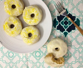 Baked Lemon Doughnuts with Lemon Cream Cheese Glaze ~ Eggfree