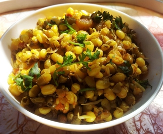 Sprouted Moong Sabzi or Sprouts Salad.