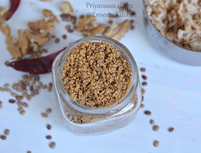 Horsegram & Walnut Rice Mix Powder/Kollu/Kulith & Walnut Spice Powder