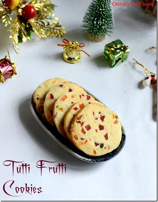 Eggless Tutti Frutti Cookies Recipe/Fruit Cookies-Christmas Recipes
